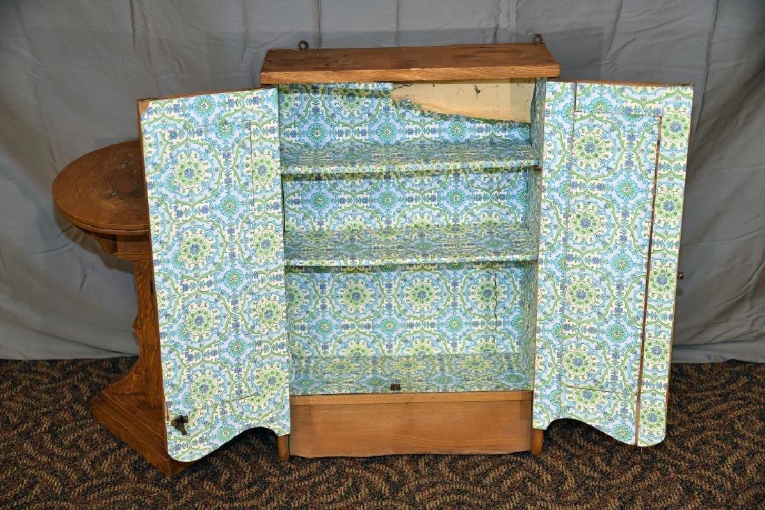 Oak Plant Stand, Ash 2 Door Hanging Cabinet - 4