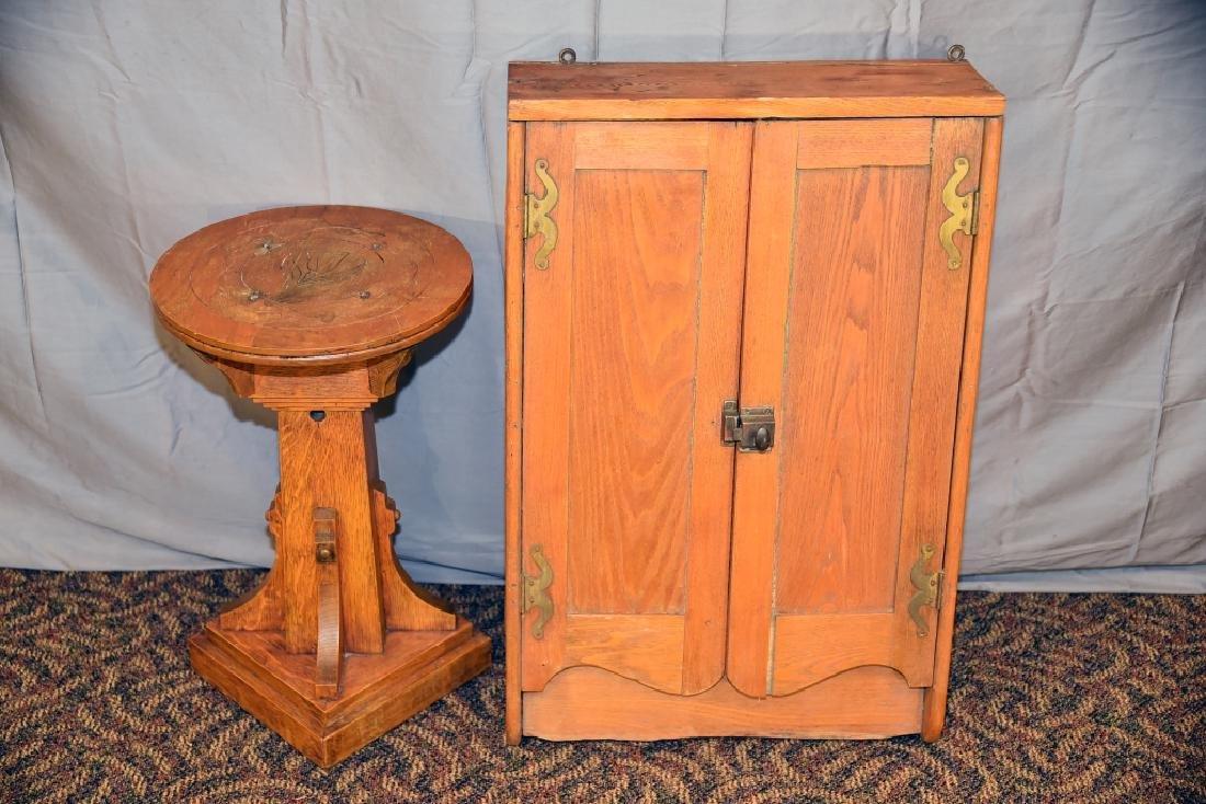 Oak Plant Stand, Ash 2 Door Hanging Cabinet - 5
