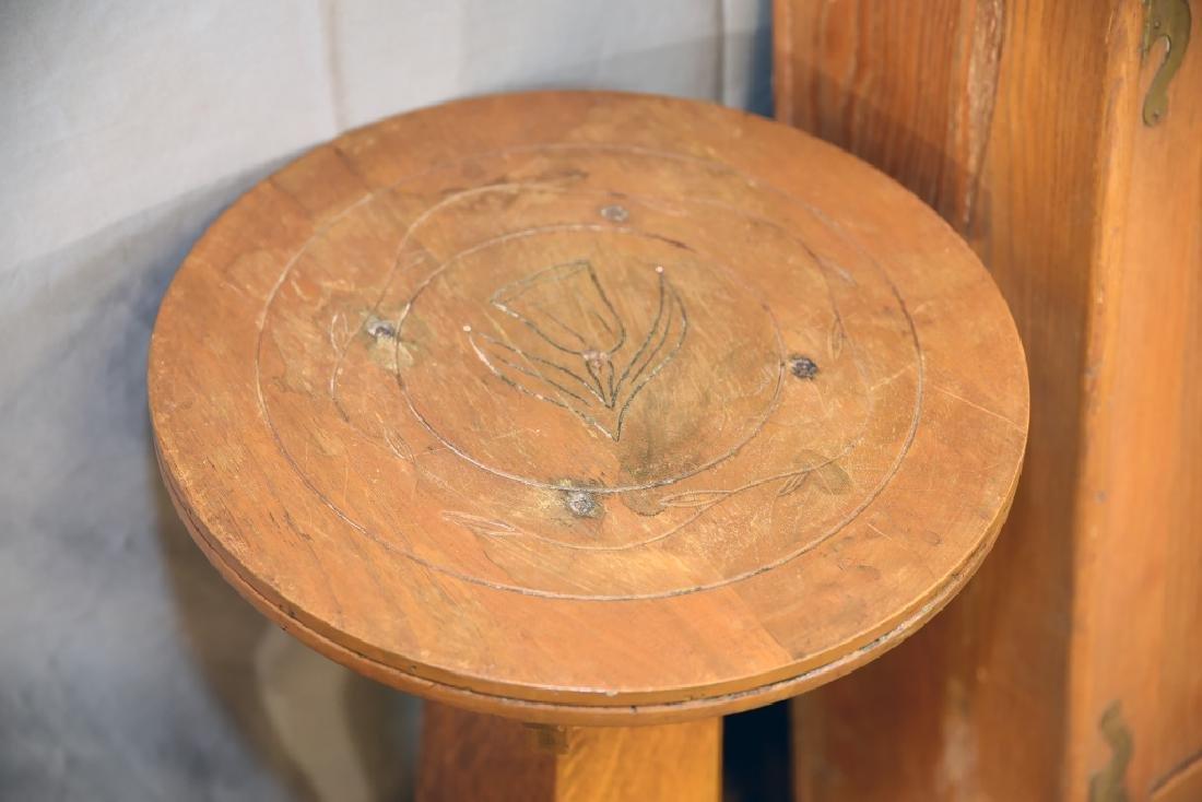 Oak Plant Stand, Ash 2 Door Hanging Cabinet - 6
