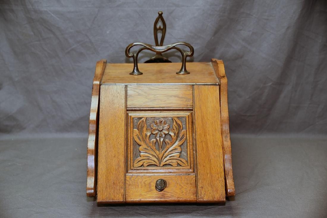 Art Nouveau Oak Coal Scuttle