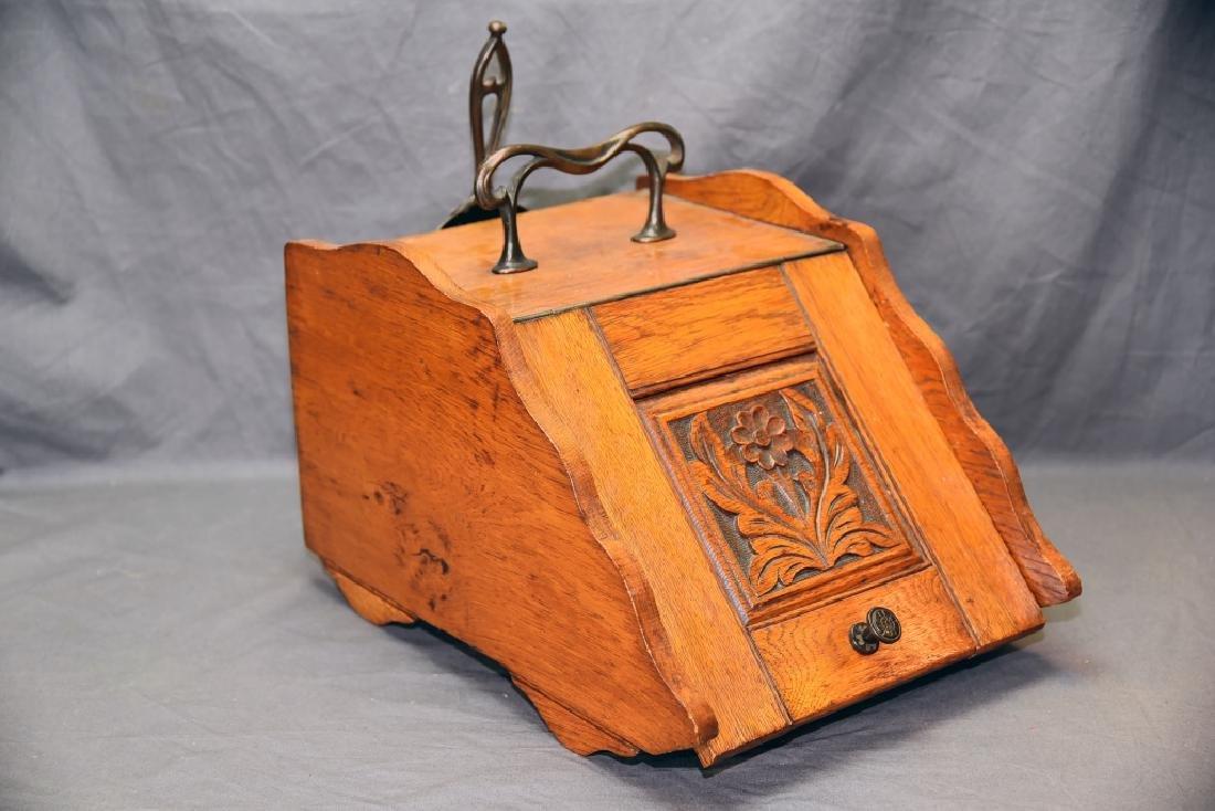 Art Nouveau Oak Coal Scuttle - 2