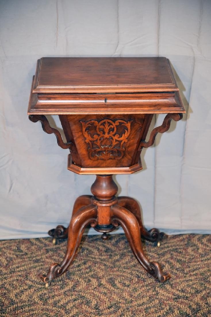 Victorian Walnut Lift Top Sewing Cabinet