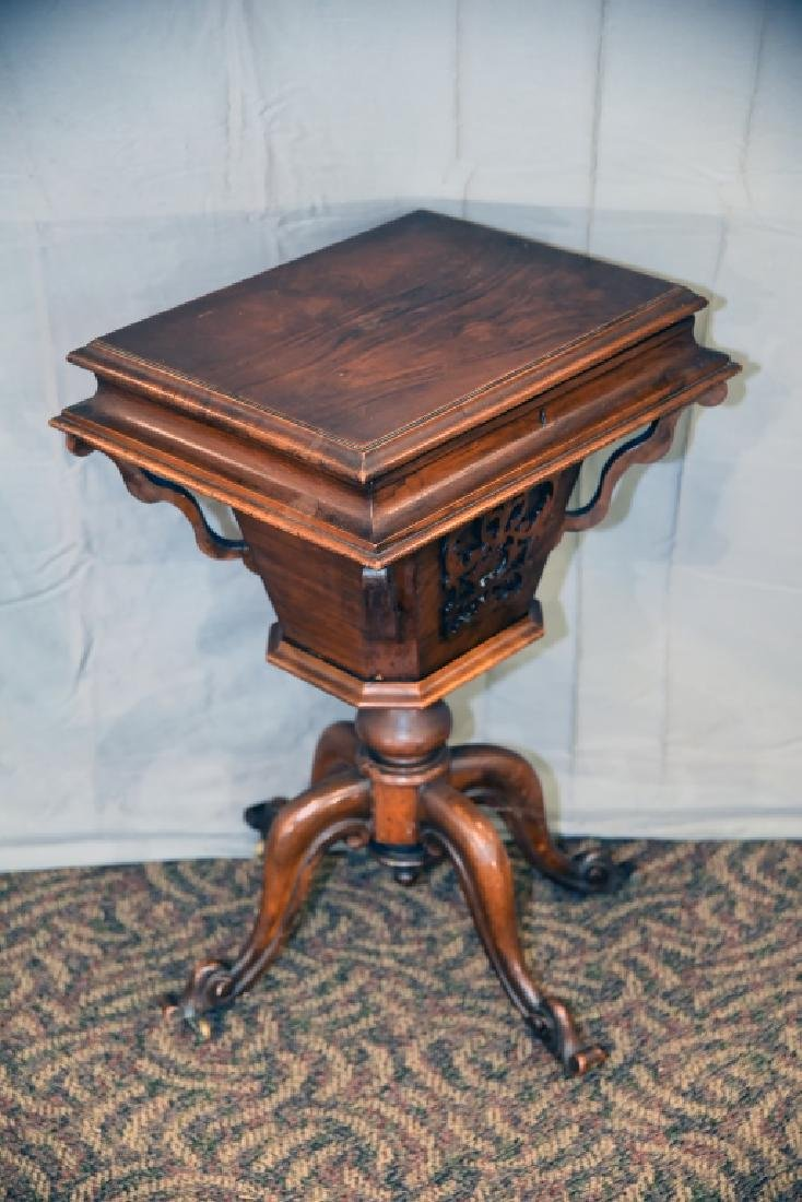 Victorian Walnut Lift Top Sewing Cabinet - 8