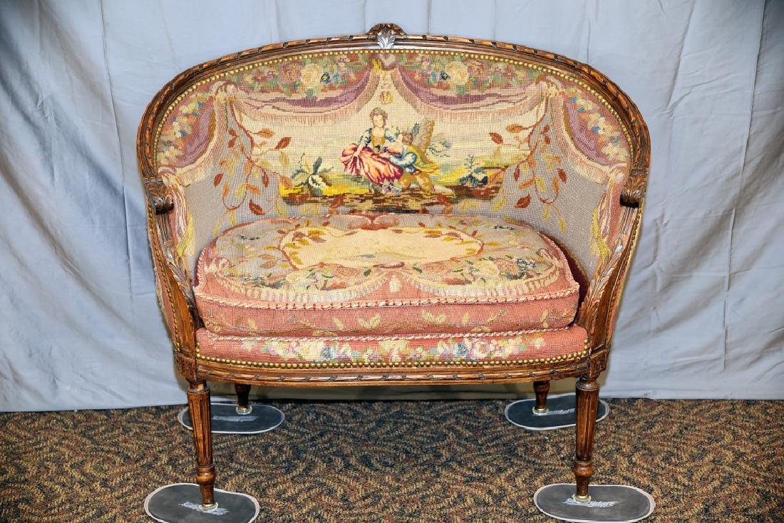 Needlepoint Upholstered Carved Frame French Setee