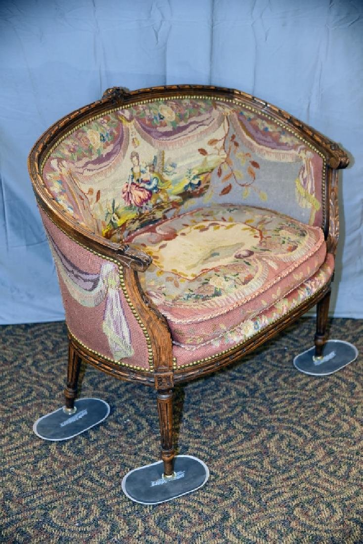 Needlepoint Upholstered Carved Frame French Setee - 2