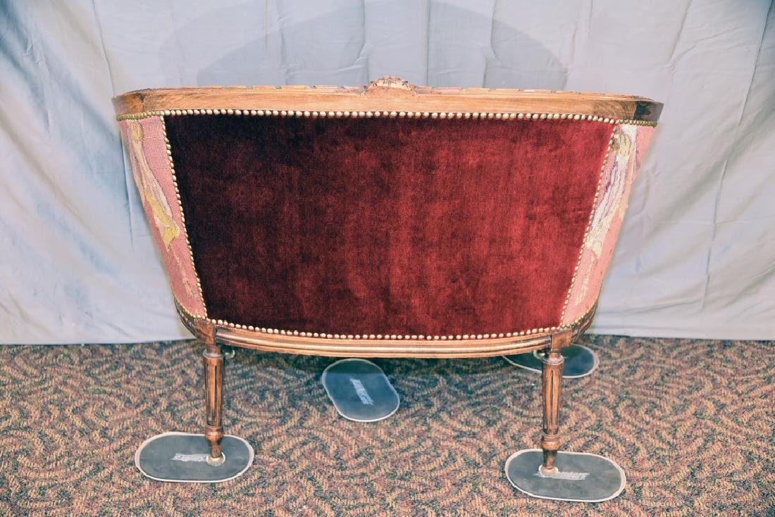 Needlepoint Upholstered Carved Frame French Setee - 3