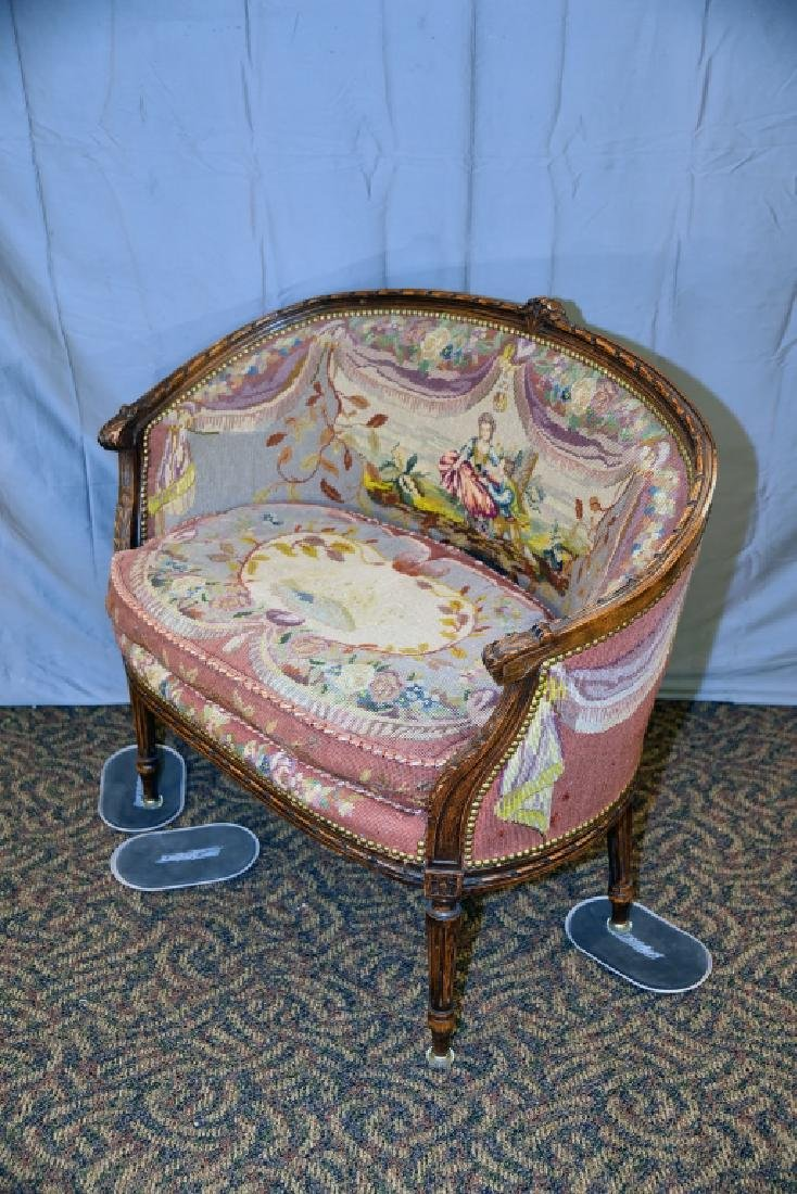 Needlepoint Upholstered Carved Frame French Setee - 4