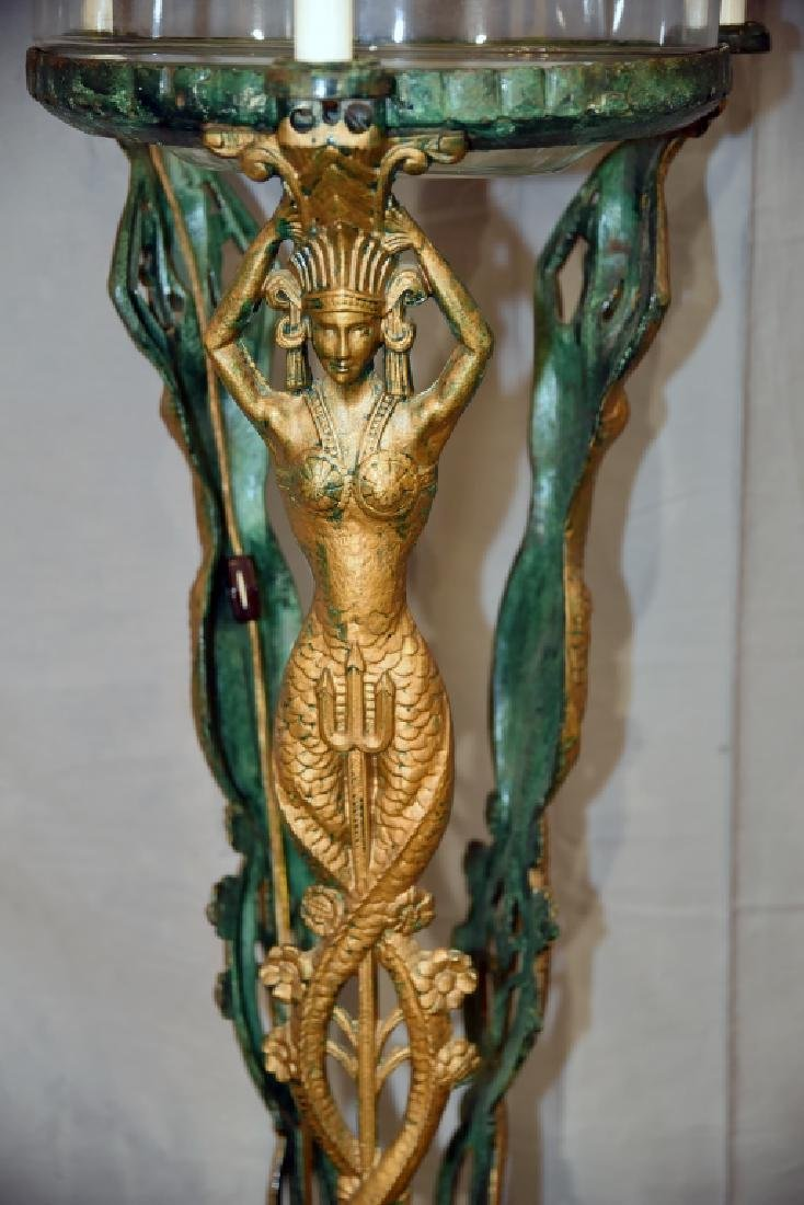 Art Deco Egyptian Revival Mermaid Fish Bowl Stand - 3