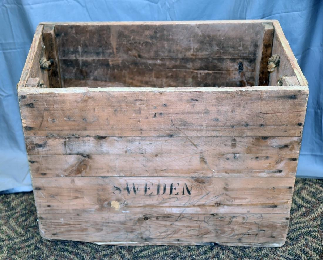 Vintage Sweden Wooden Shipping Box Crate