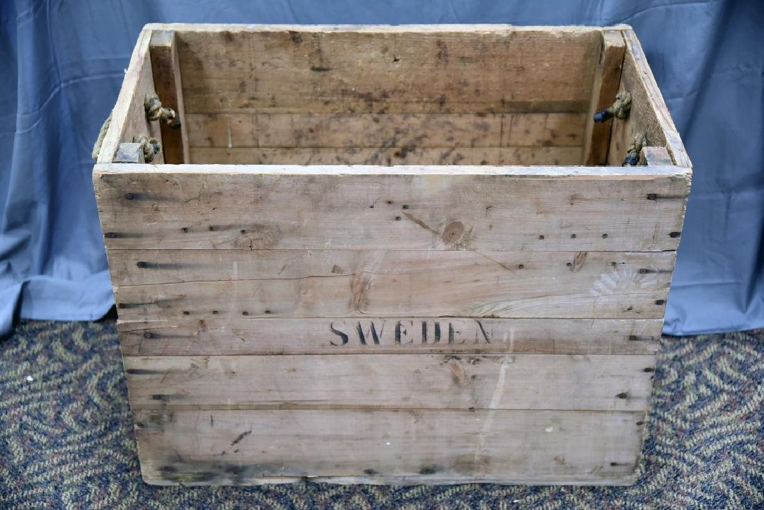 Vintage Sweden Wooden Shipping Box Crate - 4