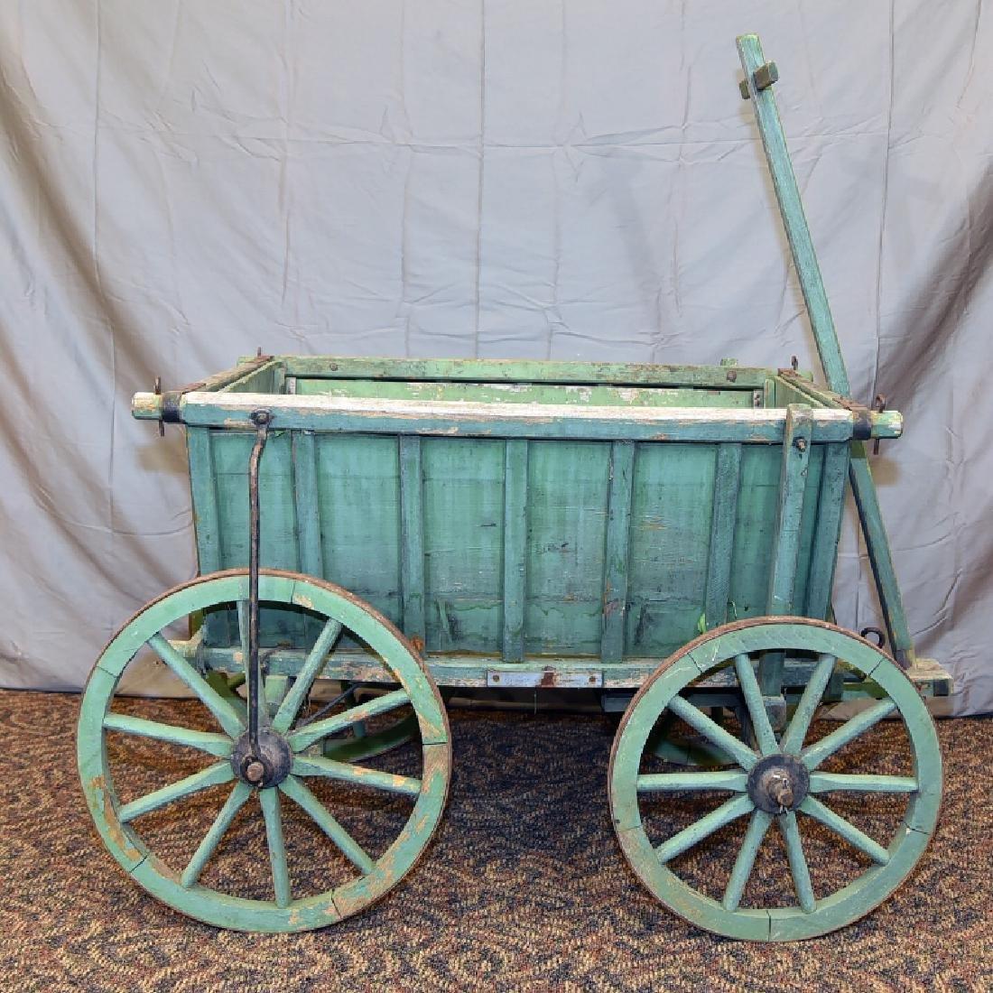 Primitive Green Painted Childs Garden Cart