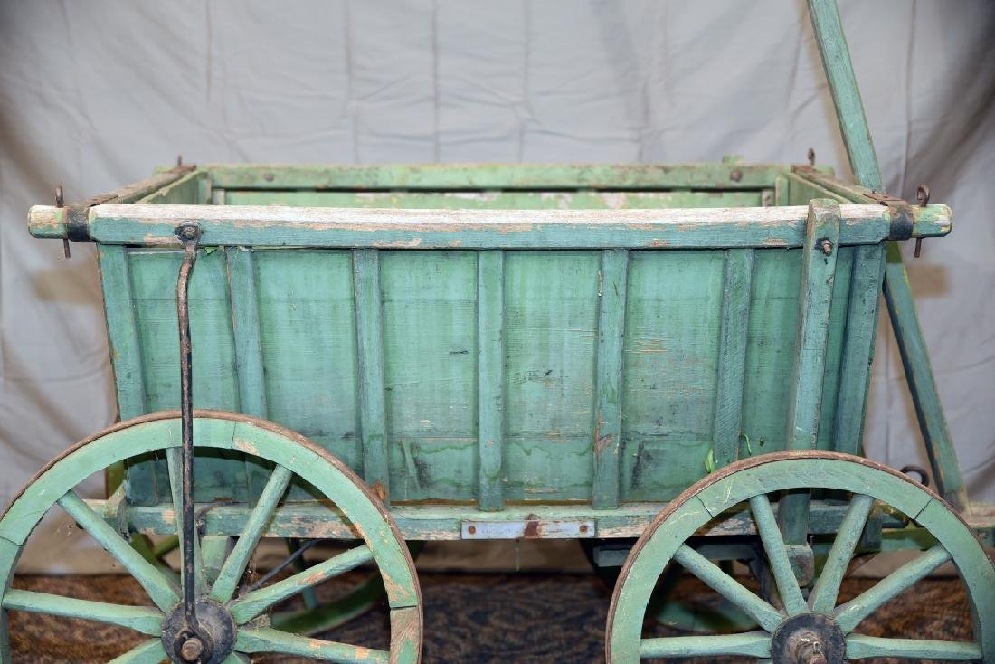 Primitive Green Painted Childs Garden Cart - 2