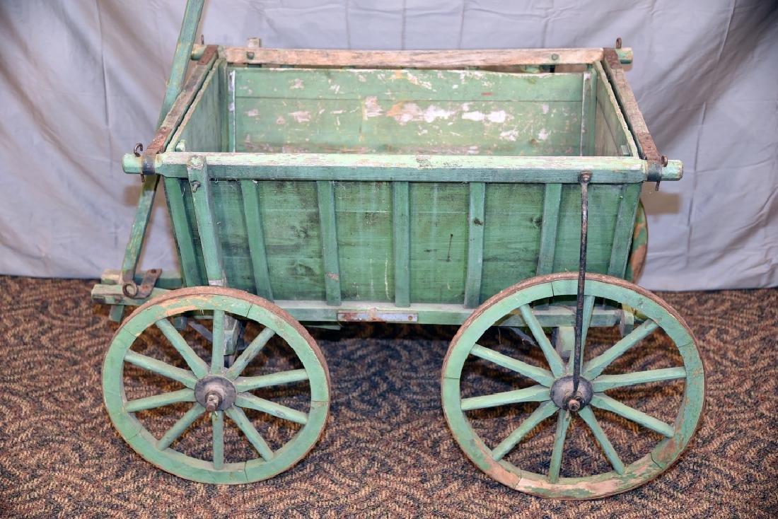 Primitive Green Painted Childs Garden Cart - 5
