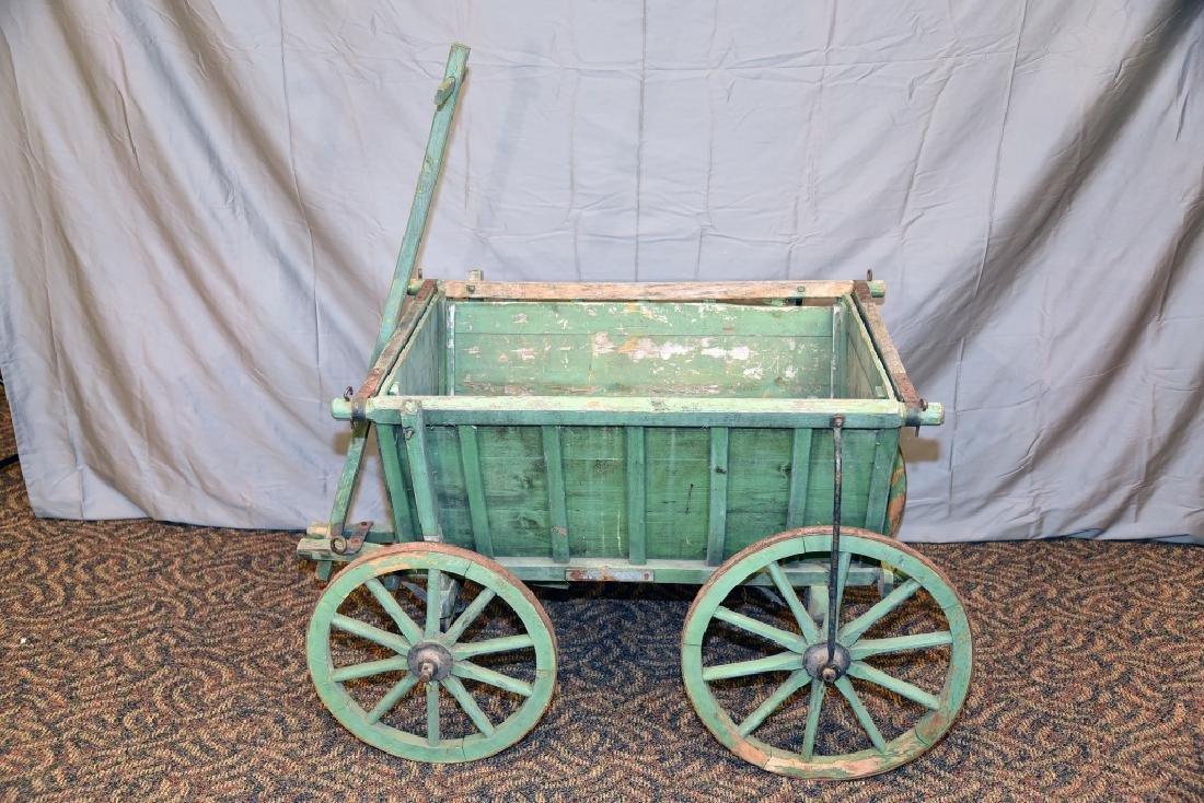 Primitive Green Painted Childs Garden Cart - 6