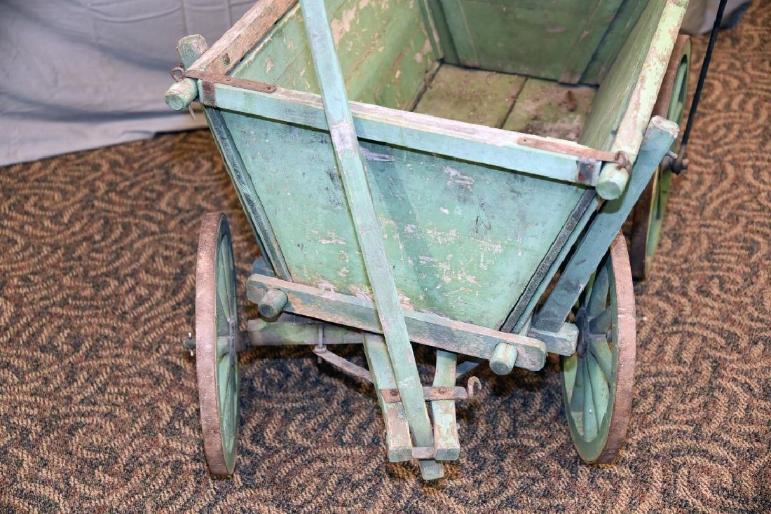 Primitive Green Painted Childs Garden Cart - 7