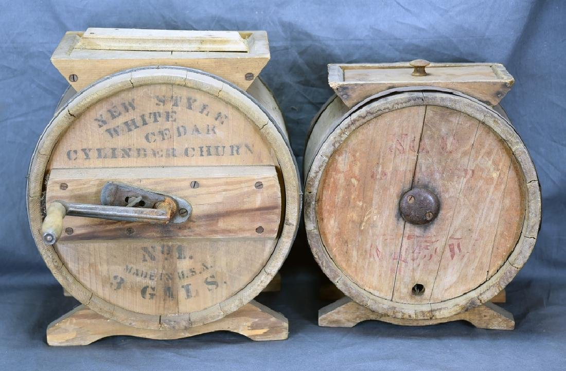 2 Wooden Cylinder Butter Churns, 2 and 3 Gallon