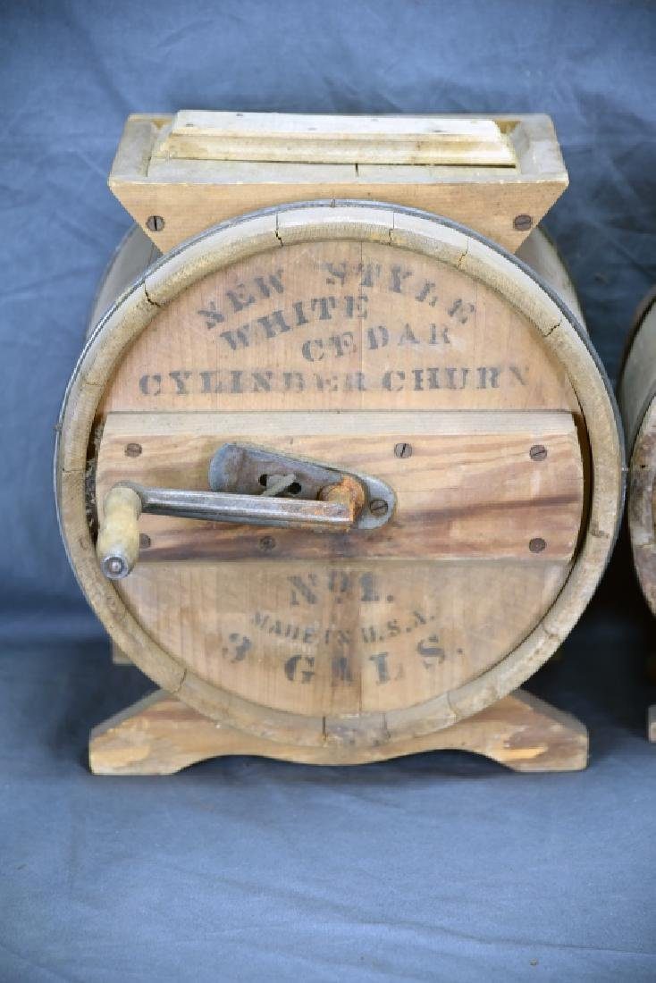 2 Wooden Cylinder Butter Churns, 2 and 3 Gallon - 2