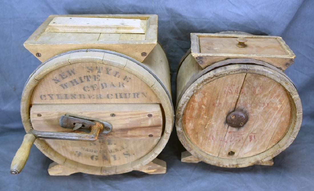 2 Wooden Cylinder Butter Churns, 2 and 3 Gallon - 4