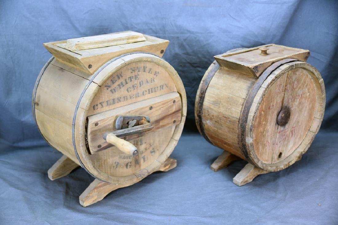 2 Wooden Cylinder Butter Churns, 2 and 3 Gallon - 5