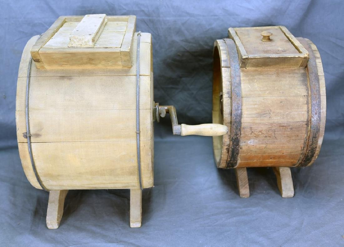2 Wooden Cylinder Butter Churns, 2 and 3 Gallon - 6