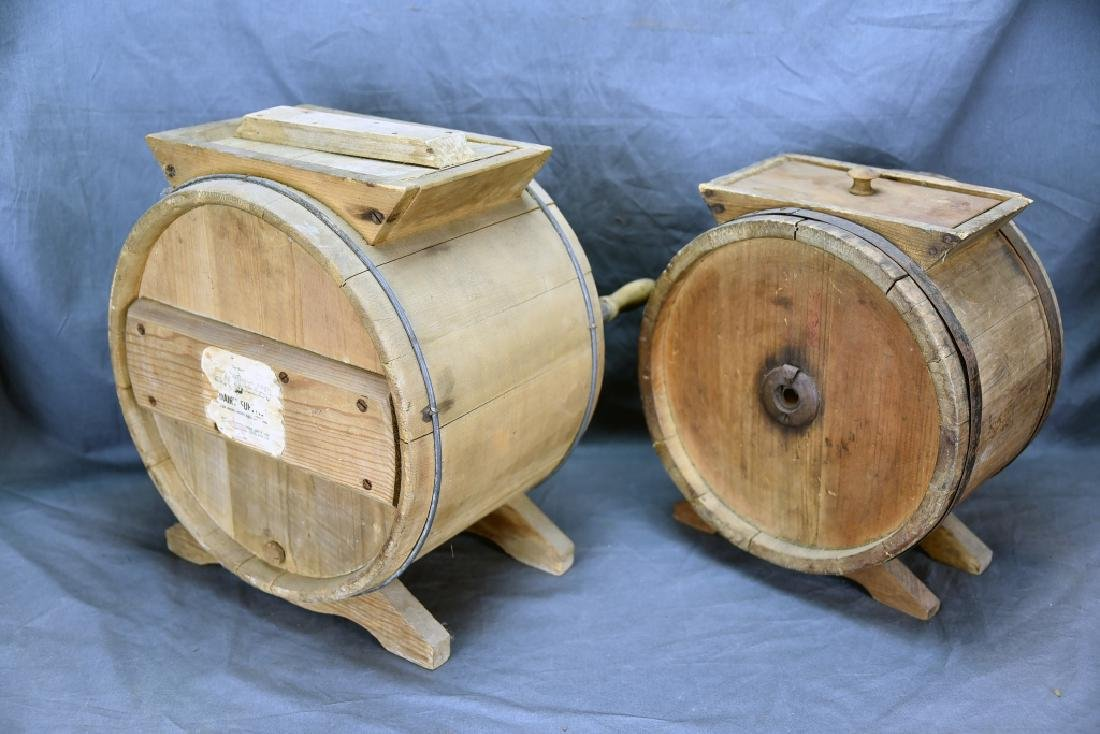 2 Wooden Cylinder Butter Churns, 2 and 3 Gallon - 7