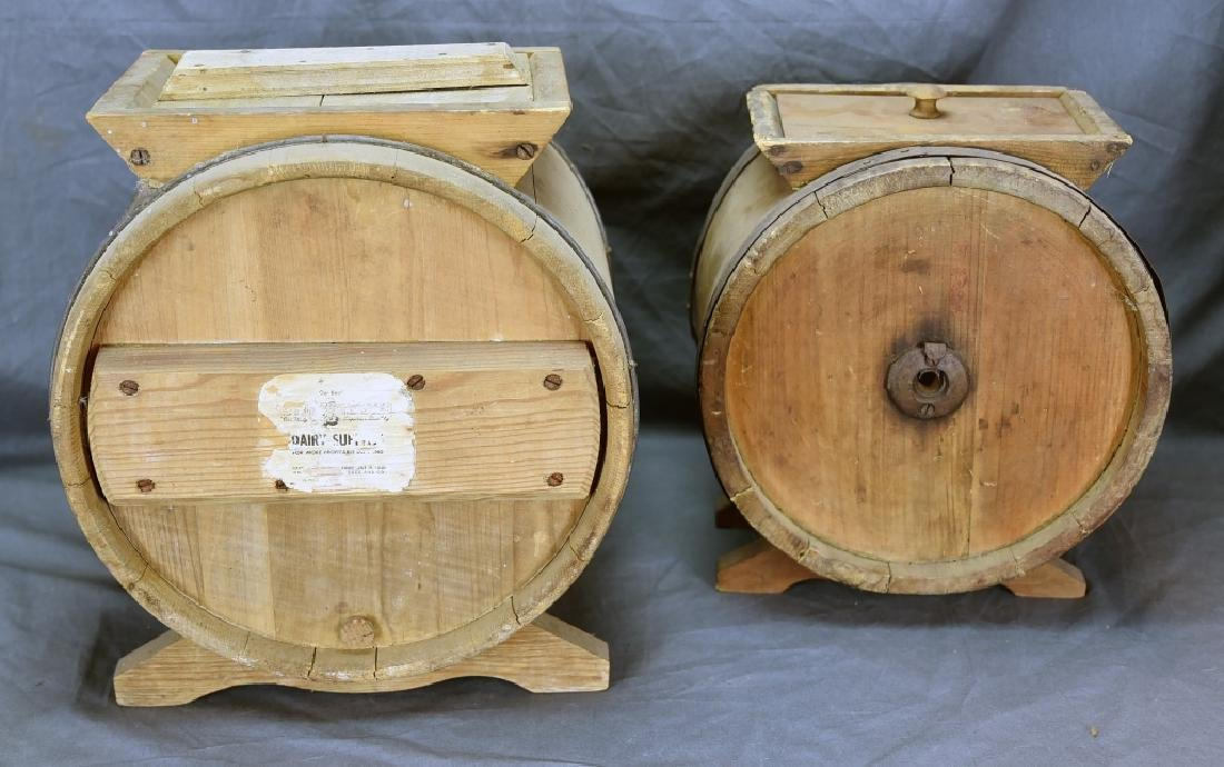 2 Wooden Cylinder Butter Churns, 2 and 3 Gallon - 8