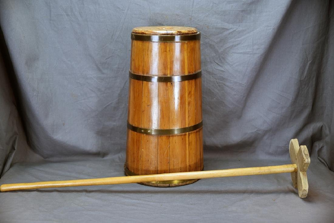 Barrel Staved Wooden Butter Churn