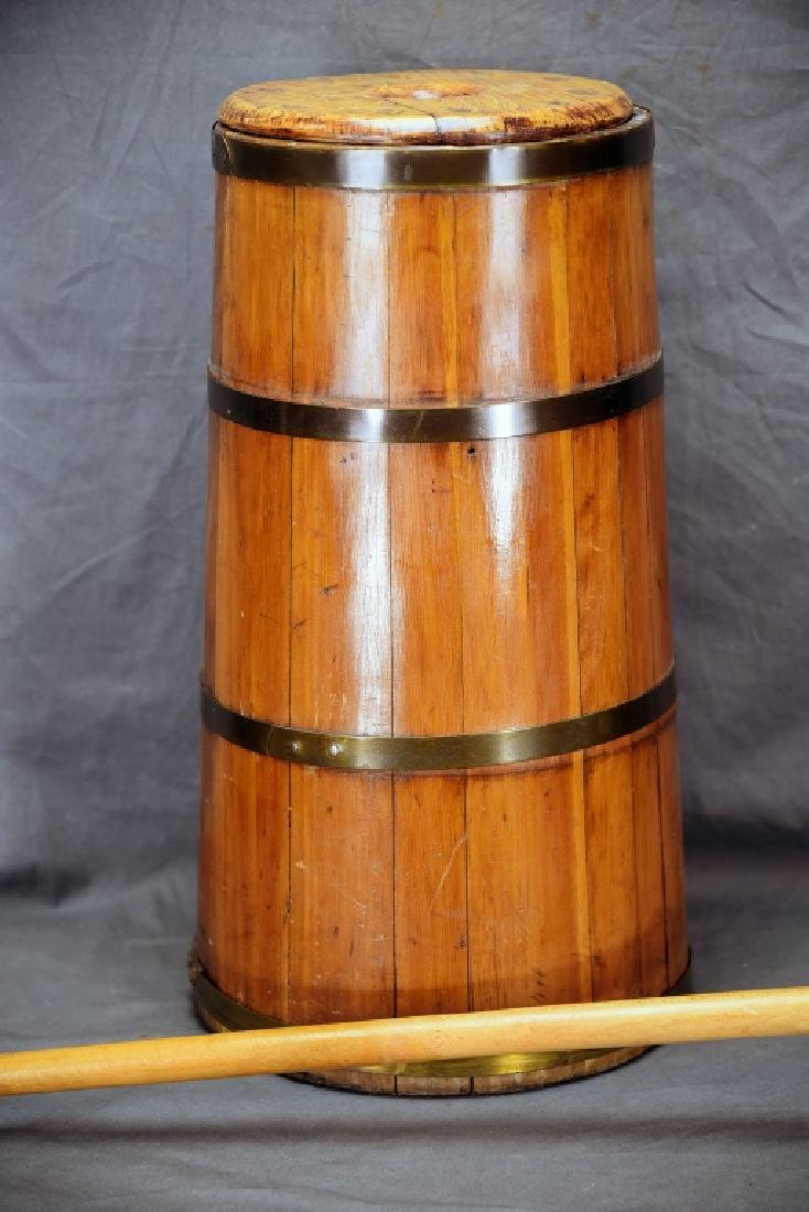Barrel Staved Wooden Butter Churn - 2