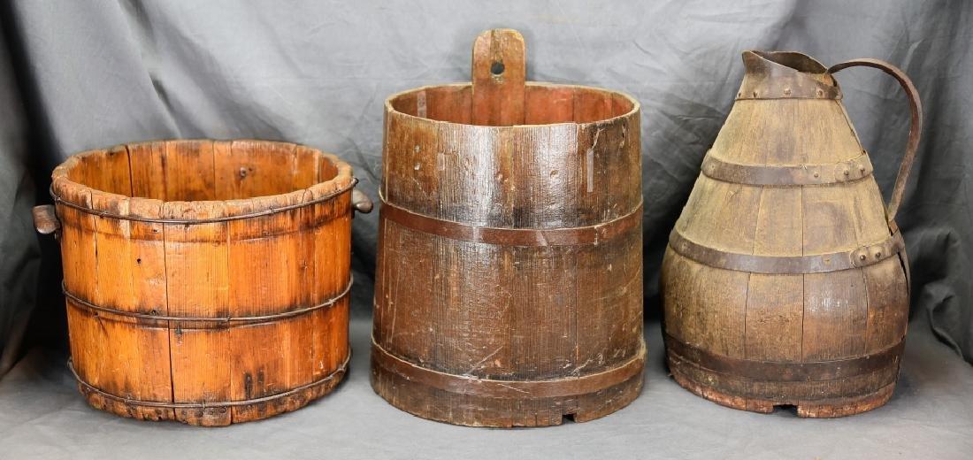 2 Staved Wooden Buckets & Lg. Wooden Pitcher