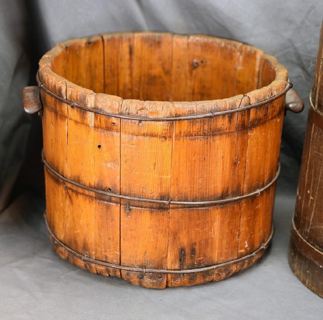 2 Staved Wooden Buckets & Lg. Wooden Pitcher - 2