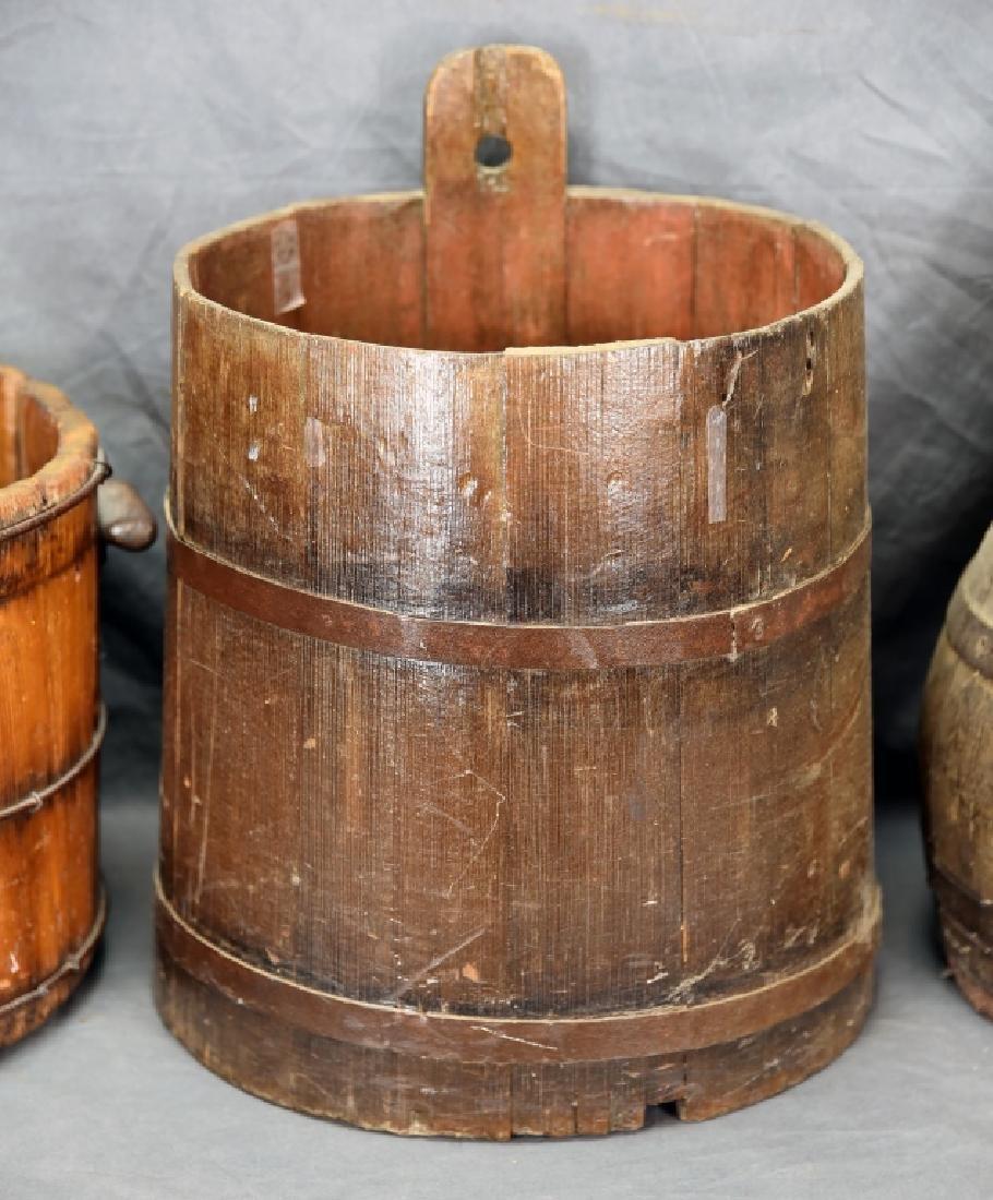2 Staved Wooden Buckets & Lg. Wooden Pitcher - 3