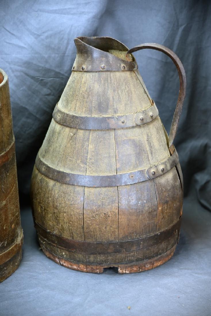 2 Staved Wooden Buckets & Lg. Wooden Pitcher - 4