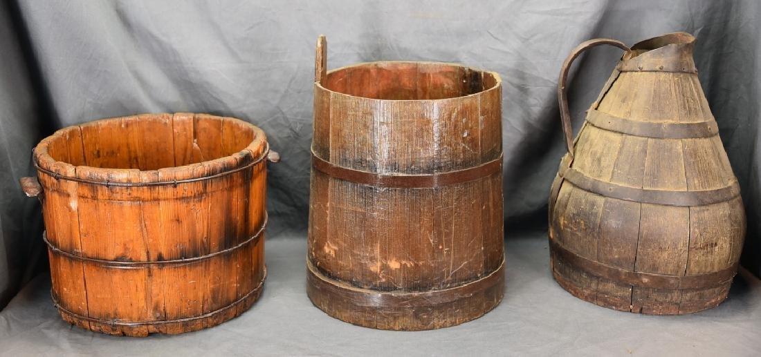 2 Staved Wooden Buckets & Lg. Wooden Pitcher - 5
