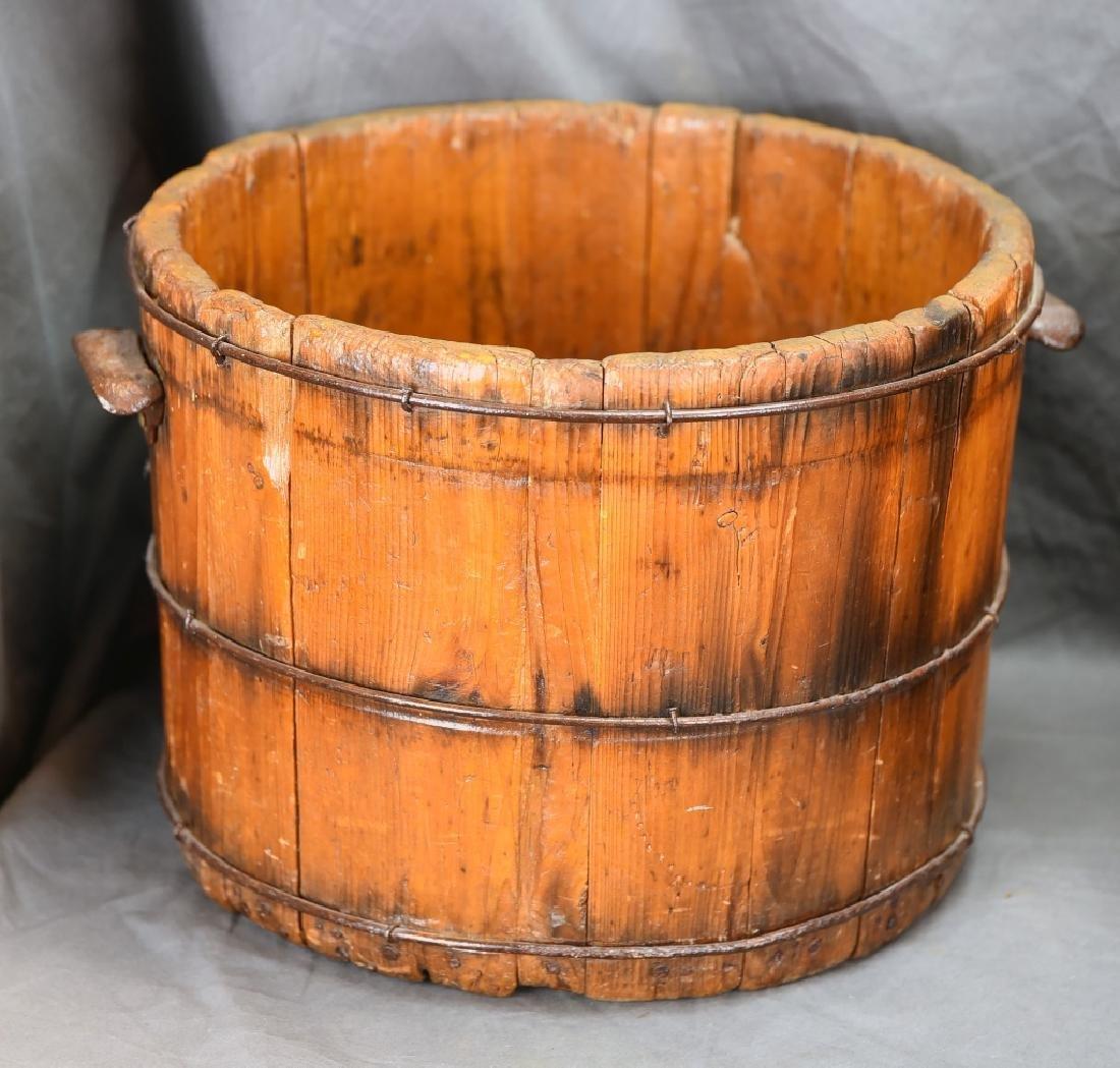 2 Staved Wooden Buckets & Lg. Wooden Pitcher - 6