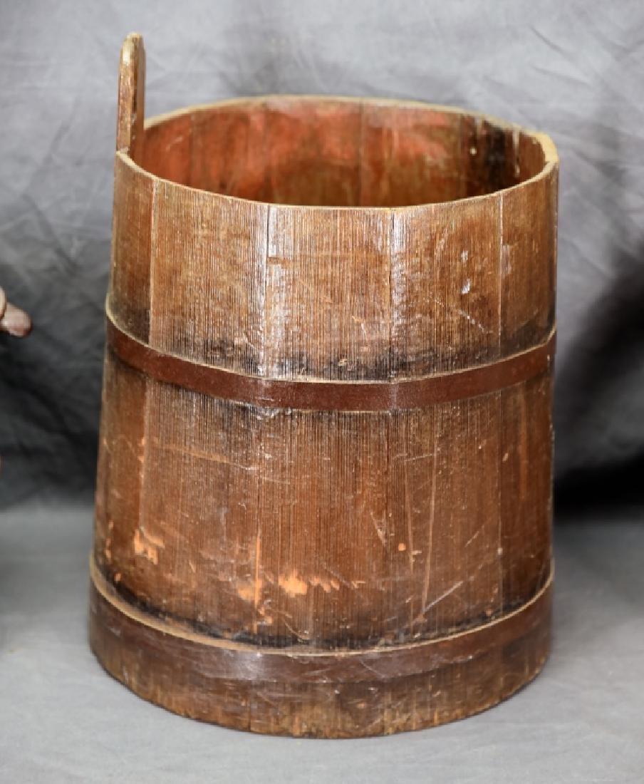 2 Staved Wooden Buckets & Lg. Wooden Pitcher - 7