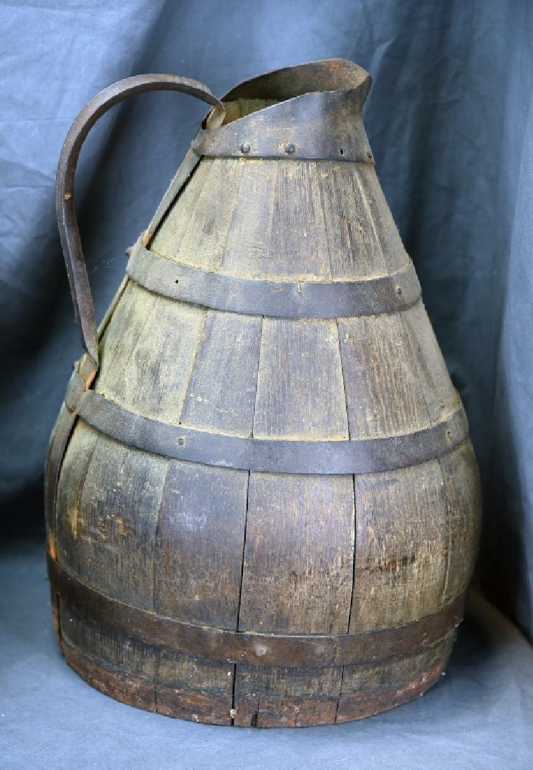 2 Staved Wooden Buckets & Lg. Wooden Pitcher - 8