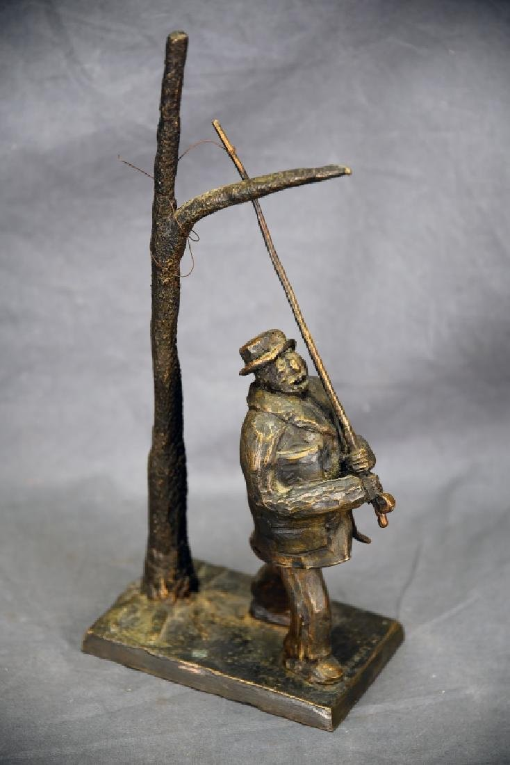 Cast Bronze Man with Fishing Pole