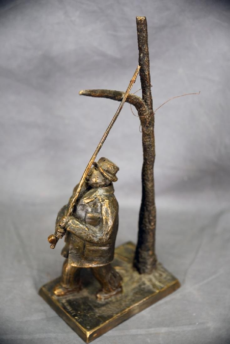 Cast Bronze Man with Fishing Pole - 2