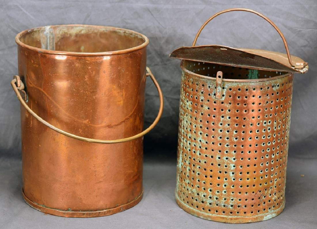 Hinge Lidded Copper Pail with Strainer
