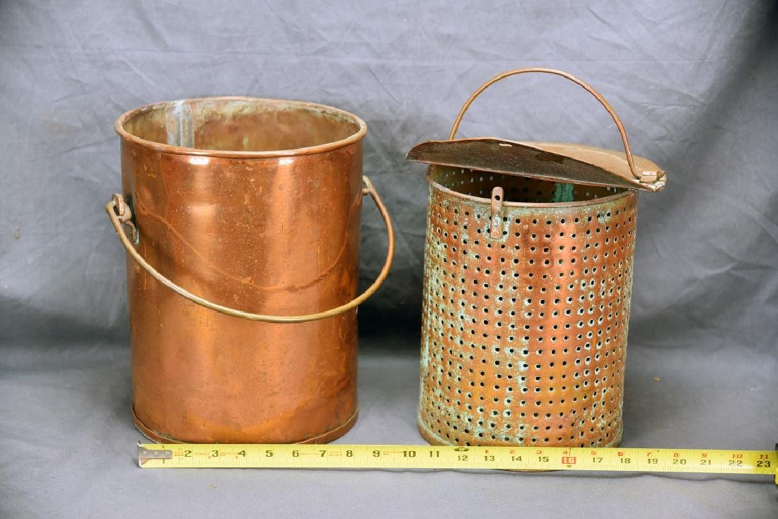 Hinge Lidded Copper Pail with Strainer - 2