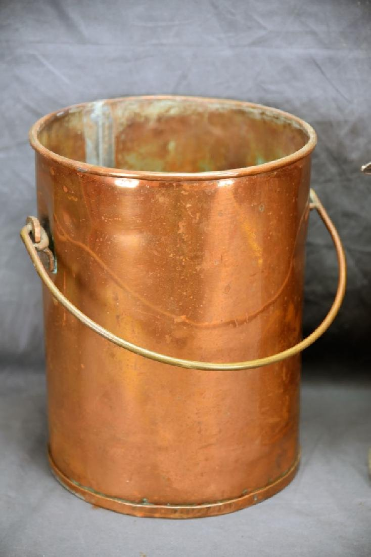 Hinge Lidded Copper Pail with Strainer - 3