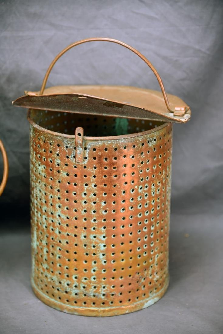 Hinge Lidded Copper Pail with Strainer - 4