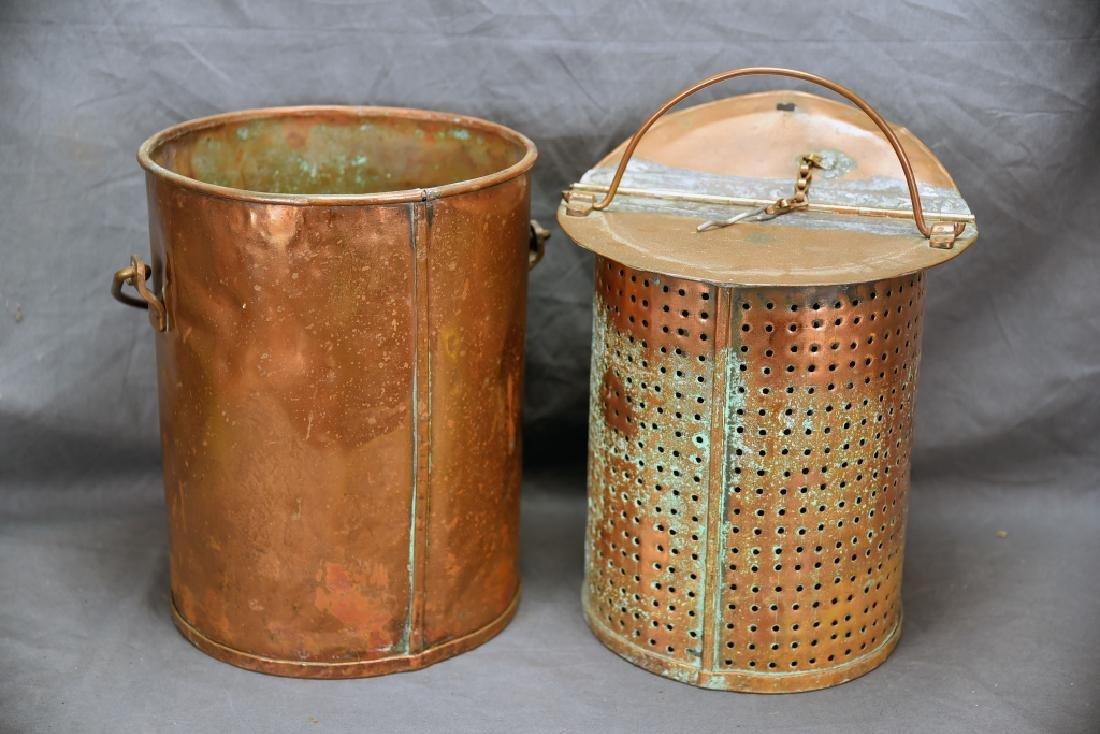 Hinge Lidded Copper Pail with Strainer - 5