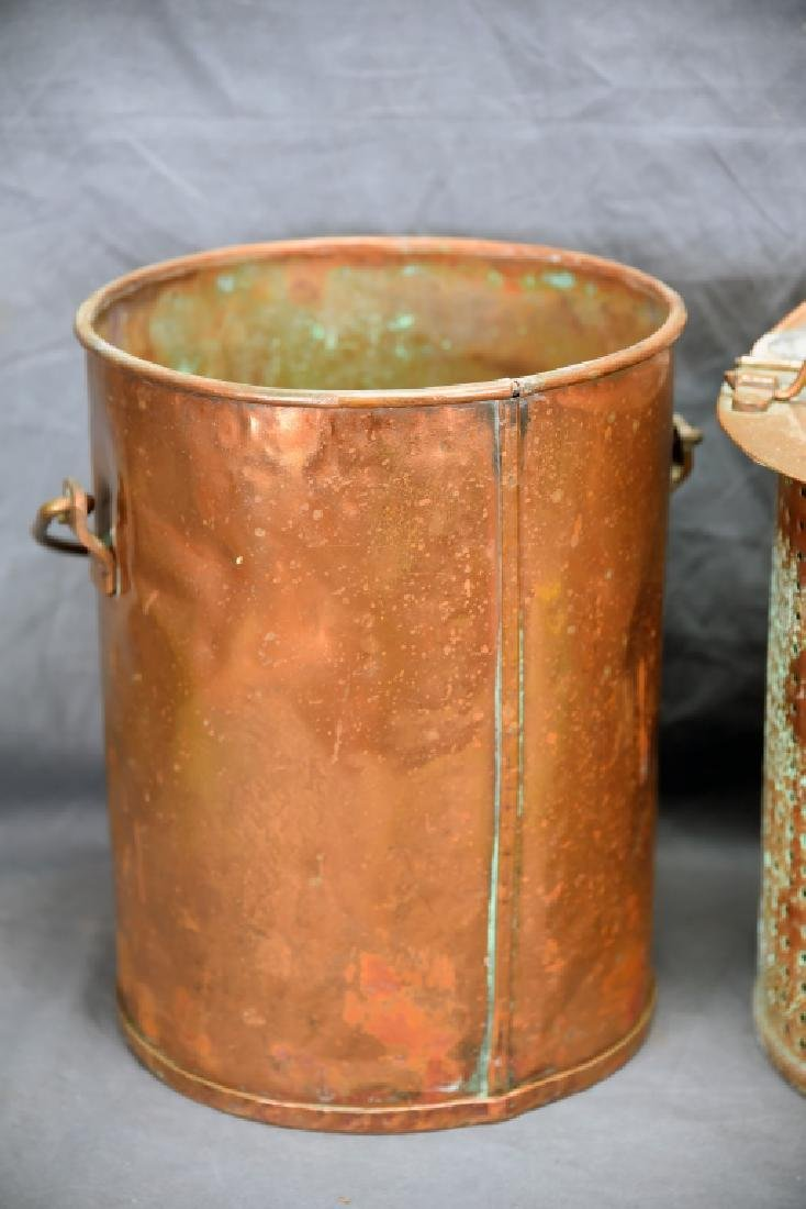 Hinge Lidded Copper Pail with Strainer - 6