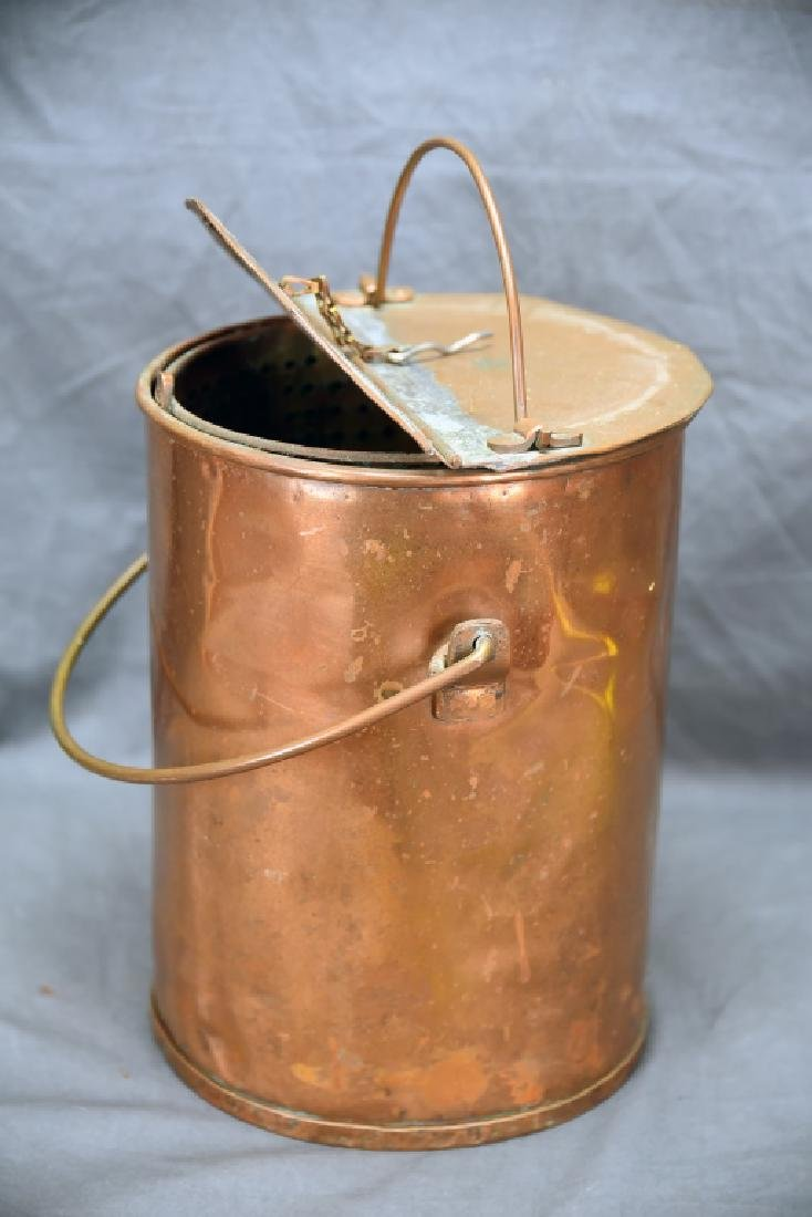 Hinge Lidded Copper Pail with Strainer - 8