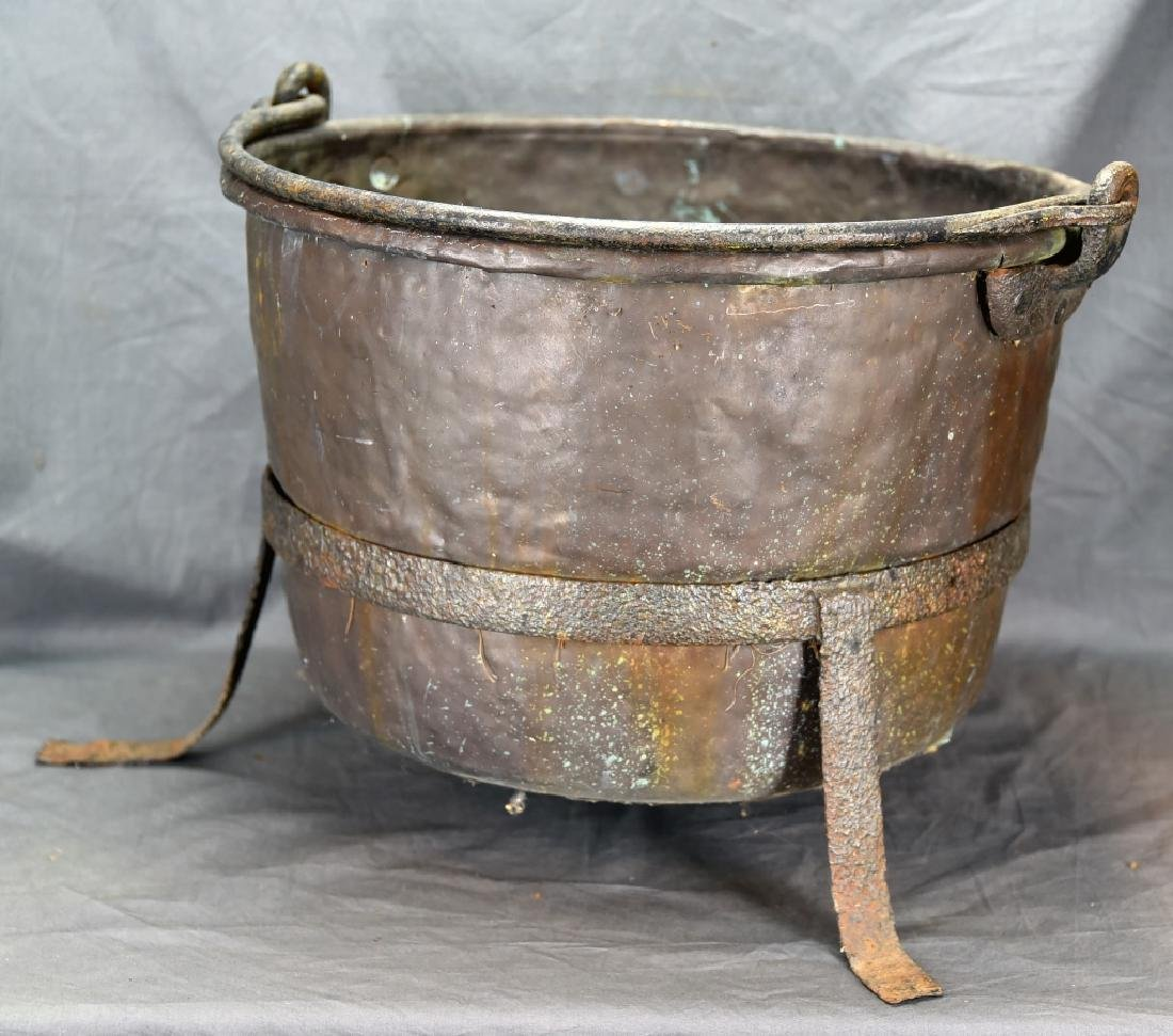 Large Copper Kettle on Iron Stand