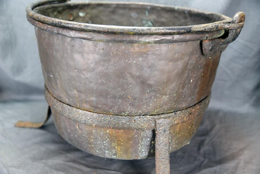 Large Copper Kettle on Iron Stand - 6