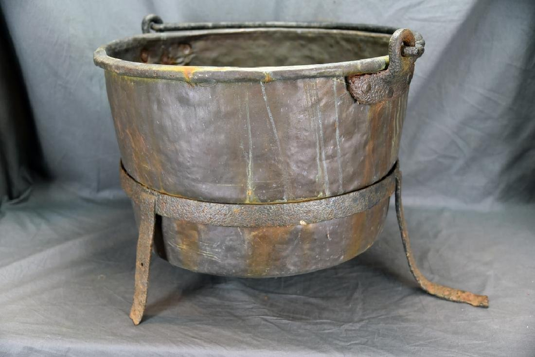 Large Copper Kettle on Iron Stand - 7