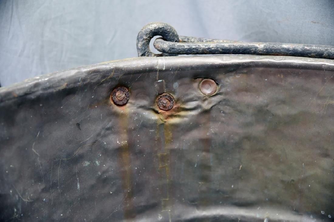 Large Copper Kettle on Iron Stand - 8