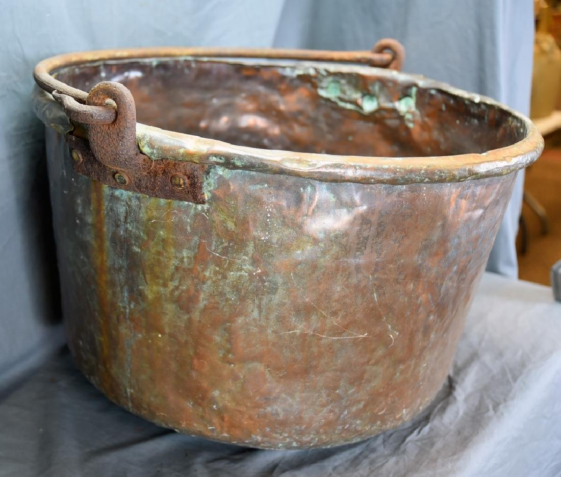 Large Copper Pail with Iron Handle - 2
